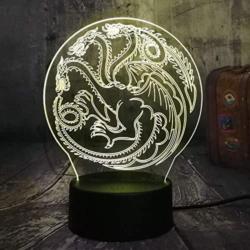 Lámpara De Ilusión 3D Decoración Para El Hogar Juego De Tronos Canción De Hielo Y Fuego Casa Luz De Noche Led 3D Lámpara De Mesa Usb Decoración Para El Hogar Regalo De Navidad