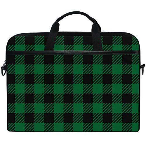 Kaariok Green Buffalo Check Vintage Plaid Laptop Shoulder Bag 13-14.5 Inch Sleeve Case Messenger Tablet Carring Briefcase with Handle Strap for Men Women Boys Girls