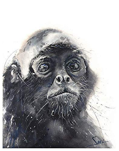 Watercolor Spider Monkey Art Print from Original Painting