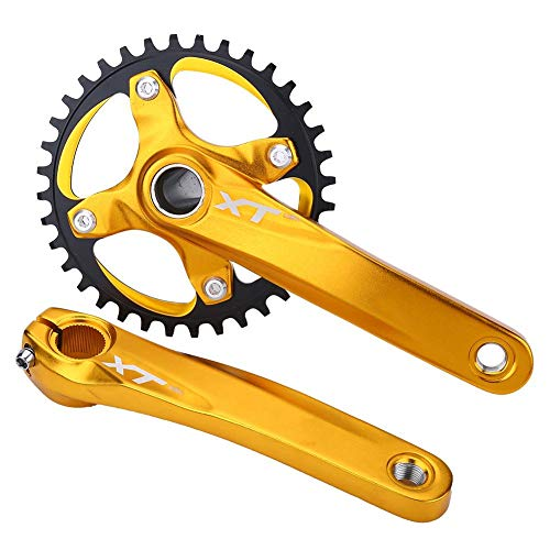 Bracon Crankset - Mountain Bike Aluminum Alloy Crankset Integral Single Speed Sprocket(Gold)