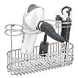 mDesign Soporte para secador de pelo para fijar en la pared – Estante de baño...
