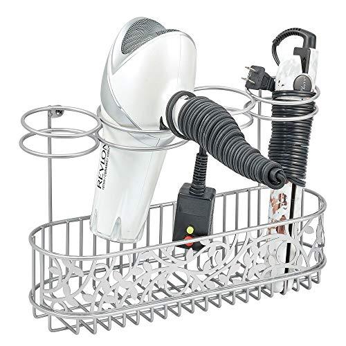 mDesign Soporte para secador de pelo para fijar en la pared – Estante de baño para guardar secador, rizador y plancha de pelo – Práctico organizador de pared en metal – plateado
