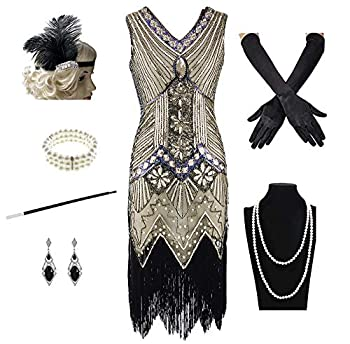 1920s Women s Gatsby Costume Flapper Dresses V Neck Fringed Dress with 20s Accessories Set of 7