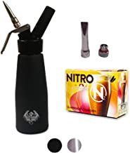 Metal Head Nitro Coffee Kit – Nitro Beer Kit – Premium 1pt Aluminum Cream Dispenser – Nitrogen (N2) Cartridges (x10) – N2 Tip pack – Cold Brew Coffee Nitrogen Beer – N2 Chargers (Matte Black)