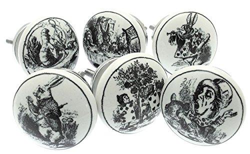 Gemengde set van 6 'Alice in Wonderland' Shabby Chic Vintage Stijl Keramische Kast Knopen (MG-28) - 'Mango Tree' TM Geregistreerd product