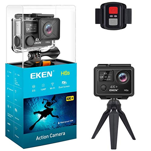 Action Camera, 4K+ EIS Waterproof (100 Feet) Video Camera WiFi 2.4G Remote Control Ultra HD 14MP 2.0 Inch LCD Screen Sports Camera Live Streaming Stabilisation
