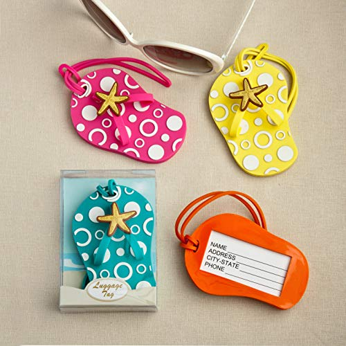 Colorful Unique Flip Flop Luggage Tags (Set of 4 in Blue, Yellow, Pink and Orange)