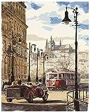 IOIUG Öl digitales Gemälde Prag Street View malen nach Zahlen für Erwachsene Kinder DIY Oil Kit Kinder Dekor Dekoration Anfänger Leinwand Farbe -40x50cm-No Frame