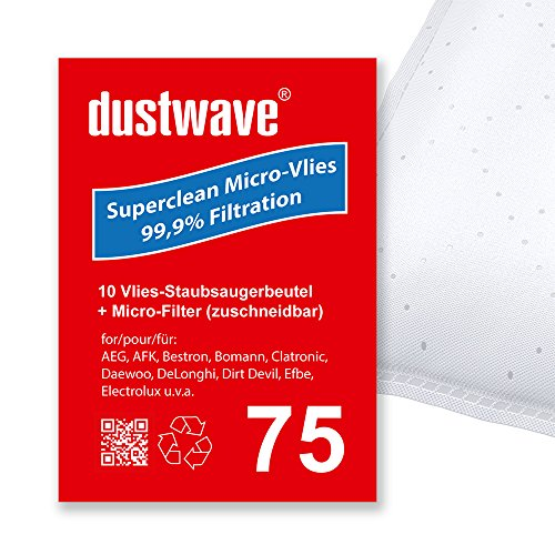 Sparpack - 10 Staubsaugerbeutel geeignet für Fakir - (Nilco) B 180 / B180 Bodenstaubsauger von dustwave® Markenstaubbeutel – Made in Germany + inkl. Microfilter