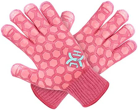 J H Heat Resistant Oven Glove EN407 Certified 932 F 2 Layers Silicone Coating Coral Shell with product image