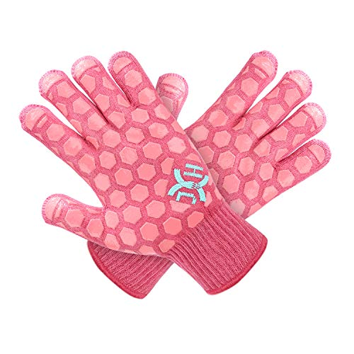 J H Heat Resistant Oven Glove: EN407 Certified 932 °F, 2 Layers Silicone Coating, Coral Shell with Pink Coating, BBQ & Oven Mitts for Cooking, Kitchen, Fireplace, Grilling, 1 Pair, Women Fits All