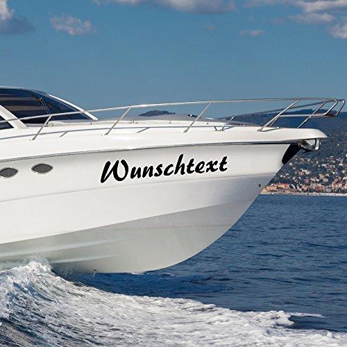 malango® Bootsaufkleber Wunschtext Beschriftung Bootsname 2 Stück Bootsbeschriftung Aufkleber Name Kennung 30 cm schwarz