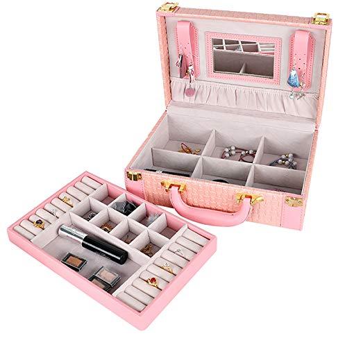 GUANYUA Caja Almacenamiento De Mujeres Caja Collar, Caja Anillos, Caja Pulsera Pendientes Multifuncionales Anillos Pulseras PU Caja Joyería Cuero Artificial Pink