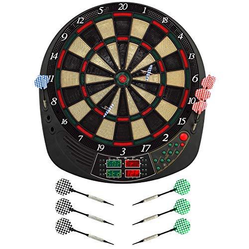 Best Sporting elektronische Dartscheibe Coventry Dartboard mit 12 Dartpfeilen und Ersatzspitzen LED Dartautomat mit Netzadapter
