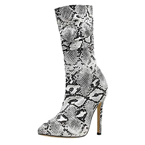 Find Bargain Boots for Women, FAPIZI Women Snakeskin Printed Pointed Toe Stiletto Heels Ankle Boots ...