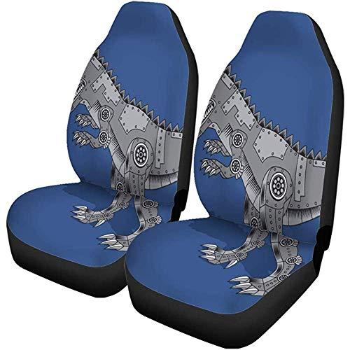Blue Boy Dinosaur Autostoelhoezen, 2 stuks, met grafische actie, gepantserde dieren, geschikt voor auto, SUV, limousine, vrachtwagen