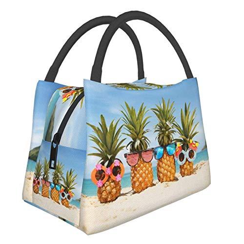 Kay Sam Beach Pineapple Wear Sunglass Lunch Tote Bag Bolsas de Compras Reutilizables portátiles Bolsa de Aislamiento térmico Bolso de Gran Capacidad para la Escuela Trabajo Oficina