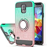S5 Case,Galaxy S5 Phnoe Case,Galaxy S5 Case with HD Screen Protector,AYMECL 360 Degree Ring Holder Gradient Dual Layer Protective Case for Samsung Galaxy S5-BG Mint&Rose Gold