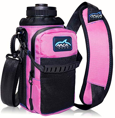 Arca Gear 32 oz Hydro Carrier - Insulated Water Bottle Sling w/Carry Handle, Shoulder Strap, Wallet and Two Pouches - The Perfect Flask Accessory - Sunset Pink