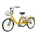Adult Tricycles 7 Speed, 24 inch Three-Wheeled Cruise Trike,Adult Trikes with Front & Rear Baskets for Recreation Shopping Exercise,Men's Women's Tricycles,Multiple Colors (Yellow)