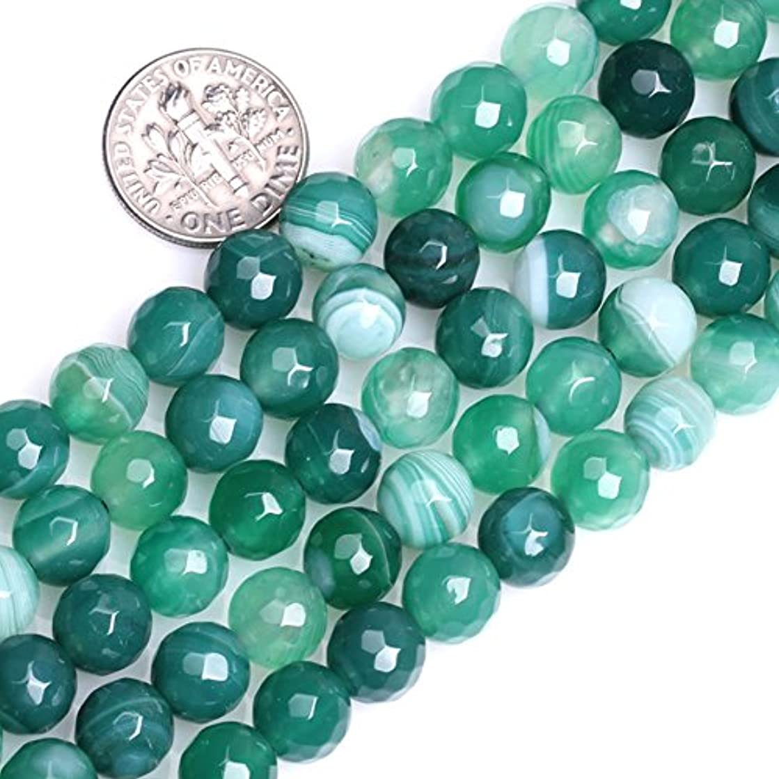 GEM-insid Faceted Banded Green Agate Gemstone Loose Beads Natural Energy Power Beads For Jewelry Making 8mm Round 15