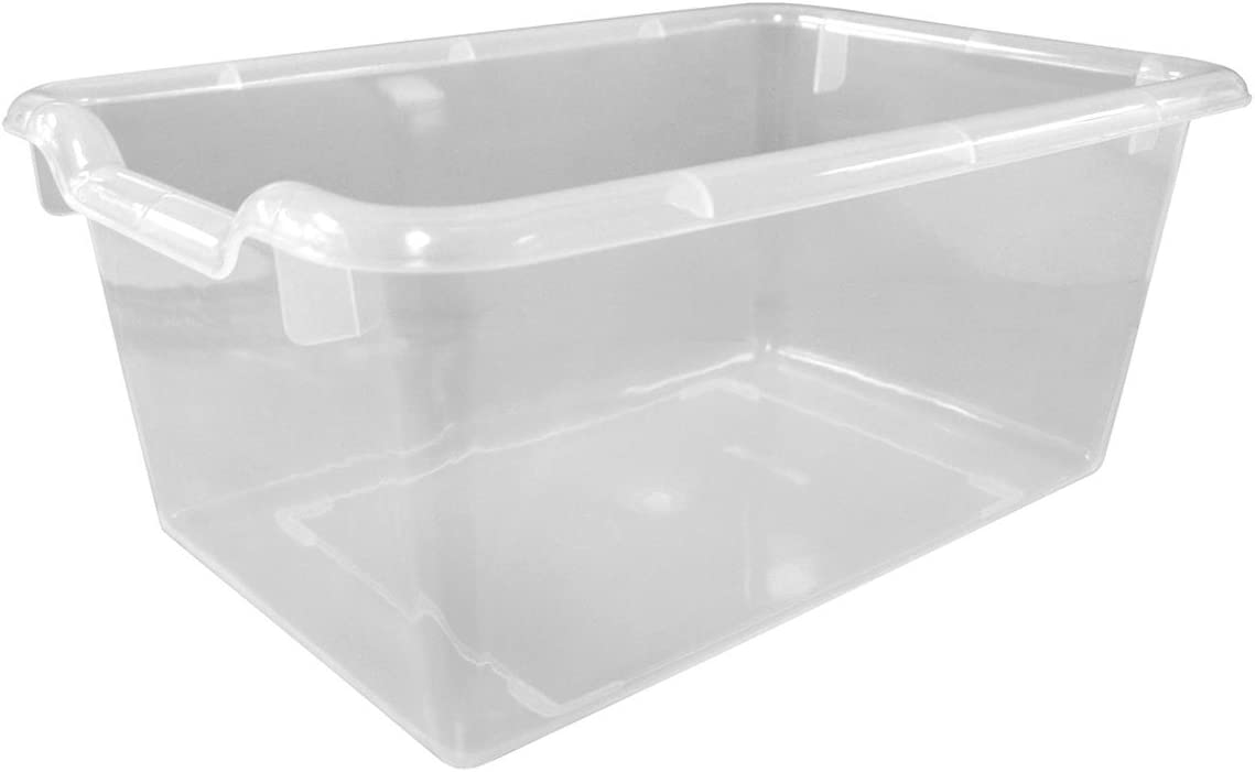 Offex Kids Scoop Front Storage Bins (10 Pack), Clear
