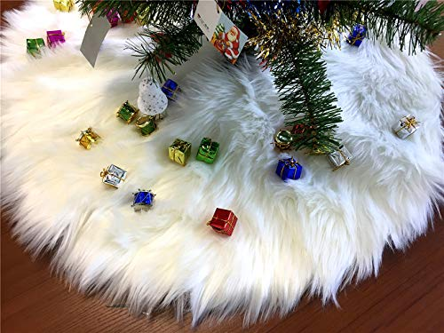 Fouriding 11.8inches Ivory Faux Fur Christmas Tree Skirt Luxury Xmas Tree Skirts Ornament for Holiday Decorations