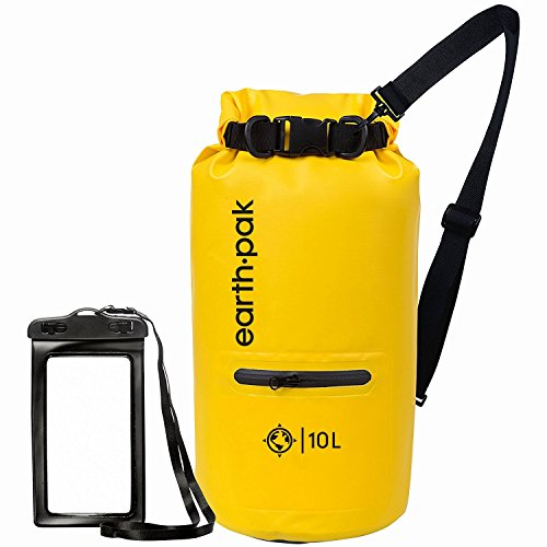 Earth Pak- Waterproof Dry Bag with Front Zippered Pocket Keeps Gear Dry for Kayaking, Beach, Rafting, Boating, Hiking, Camping and Fishing with Waterproof Phone Case (Yellow, 20L)