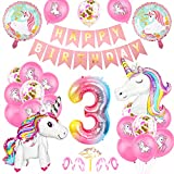 Unicornio Fiesta Decoración, Cumpleaños Globos 3, Decoración de cumpleaños 3 en Unicornio, Feliz cumpleaños Decoración Globos 3 Años, Unicornio de cumpleaños Ducha Bodas Festival Decoración