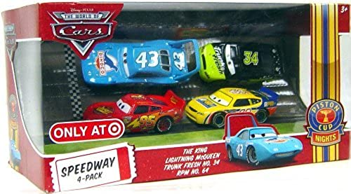CARS-Disney   Pixar CARS Movie Exclusive 1 55 Speedway 4-Pack  THE KING, Lightning McQueen, Trunk Fresh No.34, RPM No. 64
