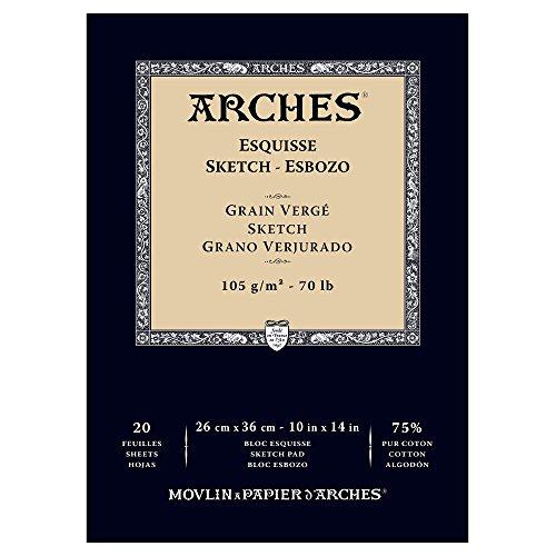 Arches 1795111 Skizzenpapier im Block (26 x 36cm, 105g/m², Kopfgeleimt für Pastell, Bleistift, Kohle und Rötel) 20 Blatt