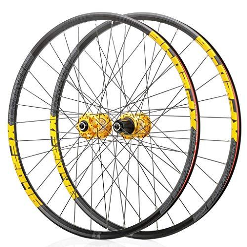 WYJW Rueda para Bicicleta de montaña 26'/27,5'/29'Juego de Ruedas de Bicicleta MTB Llanta de Doble Pared Freno de Disco QR 8-11S Cassette Hub 6 trinquetes Rodamiento Sellado