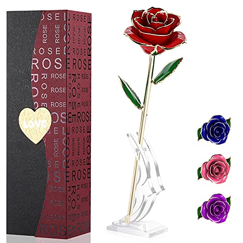 Rosa Oro 24 K Rosa Eterna Rosas Flores Artificiales Mejor Regalo con Soporte Transparente y Caja Regalo para Esposa Mom Novia En Navidad, San Valentín, Cumpleaños, Día de la Madre