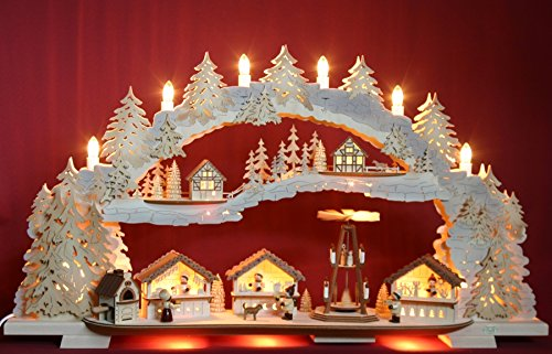 Großer 3D Schwibbogen Weihnachtsmarkt mit elektrischer Pyramide 72cmx41cm Handarbeit Erzgebirge