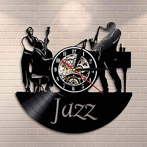 ZZLLL Músico Jazz Band Reloj de Pared Hombres Tocando el Violonchelo Sax Jazz Band Instrumentos Disco de Vinilo Reloj de Pared Dormitorio Sala de Estar Decoración