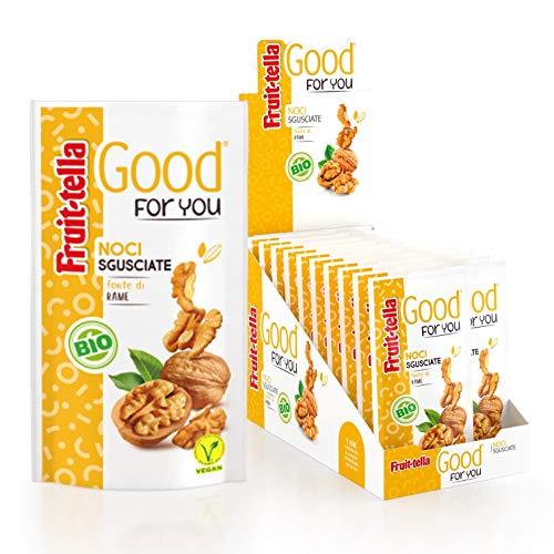 Fruittella Good For You Noci Sgusciate Biologiche, Snack di Frutta Secca Biologico, Fonte di Rame, Confezione da 20 Pacchetti Monodose