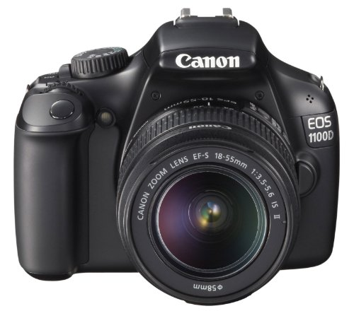 Canon EOS 1100D SLR-Digitalkamera (12 MP, 6,9cm (2,7 Zoll) Display, HD-Ready, Live-View, Kit II inkl. EF-S 18-55mm 1:3,5-5, 6 IS II) schwarz
