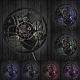 WAGUZA Joueurs de Football Sport décoration Murale Horloge Murale Football américain Match Vintage Vinyle Record Horloge Murale Rugby Football Cadeau pour Lui