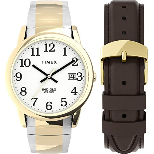 Timex Men's Easy Reader 35mm Quartz Stainless Steel Strap, Two-Tone, 18 Casual Watch (Model: TWG025500JT)
