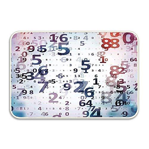 Números de código digitales Base de datos informática Ciencia Tecnología de la información Arte temático Felpudo, Franela suave Alfombrilla de entrada para el hogar, Alfombras decorativas para interio