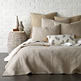 Levtex Home - Cross Stitch Quilt Set - 100% Cotton - Twin Quilt (68x86in.) + 1 Standard Shams (26x20in.) - Taupe