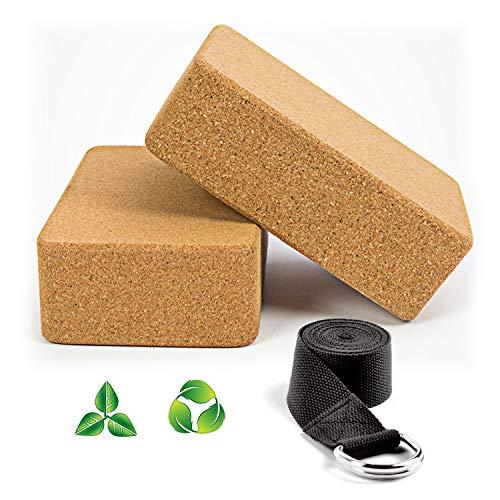 WayEee Bloques de Yoga Corcho Natural 2 Piezas Ecológico de Alta Densidad Centímetros Ladrillo Yoga Block Cork para Pilates y Ejercicios de Yoga.
