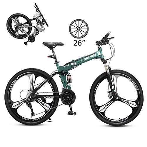LXDDP 26In faltbarem Mountainbike, Unisex-Fahrrad aus Kohlenstoffstahl im Freien, vollgefedertes MTB-Cyling, Doppelscheibenbremsräder, Scheibenbremse