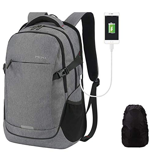 Hanke Schulrucksack mit Regenhülle USB-Ladeanschluss 30L Laptop Rucksack für 15,6 Zoll Laptop Reiserucksack Herren Frau Jungen Schule Teenager 19 Zoll Dunkelgrau