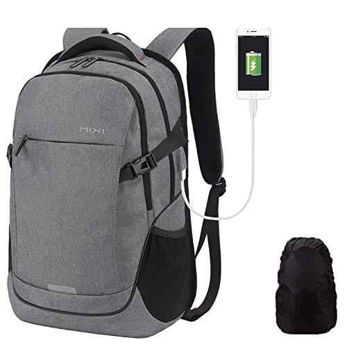 Hanke Schulrucksack Laptop Rucksack mit Regenhülle USB-Ladeanschluss für 15,6 Zoll Laptop Reiserucksack für Herren Frau Jungen Schule Teenager 19 Zoll 30L Dunkelgrau