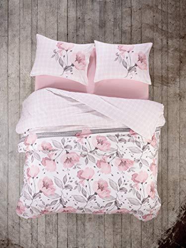 Cotton Box Colección de Ropa de Cama: 2 Fundas de Almohada 80X80 Cm Cada y 200X200 Cm Funda Edredón, Modeline Ranforce - Diseñado y Fabricado en Turquía
