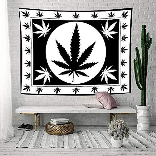 Tapiz de hoja en blanco y negro, tapiz artístico de hoja de marihuana Rasta blanca, tapices para colgar en la pared para sala de estar, hogar, dormitorio, decoración 150cmX100cm