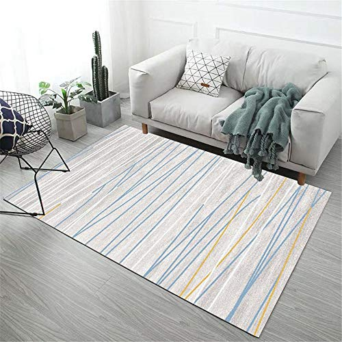 Kids Bedroom Rug Blue thin line stripes modern style pattern soft carpet anti-dirt Waterproof Rug For Outdoors Rugs Living Room Large blue 60X90CM