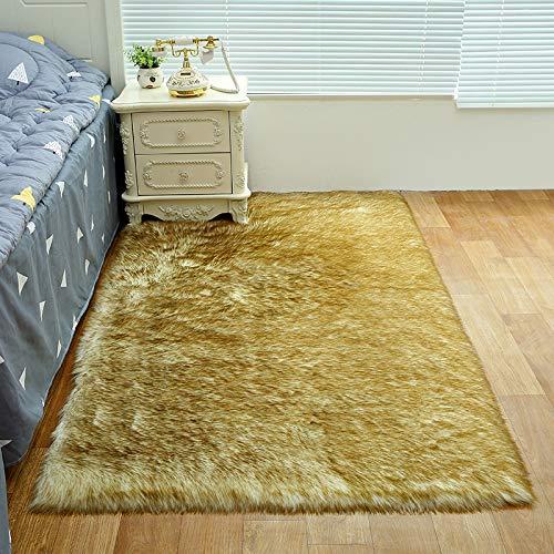 Wollen tapijt, complete emulatie schapenvacht tapijt, kussens van de bank, matten, slaapkamer, woonkamer lang haar te spreken kussen, anti-fouling, eenvoudig te reinigen,White coffee color,60 * 60cm