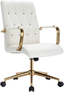 Duhome Desk Chair White Office Chair, Home Office Desk Chairs with Arms Computer Chair for Office Desks Swivel Adjustable PU Leather Chair with Golden Legs